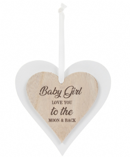 DBL HEART PLAQUE BABY GIRL